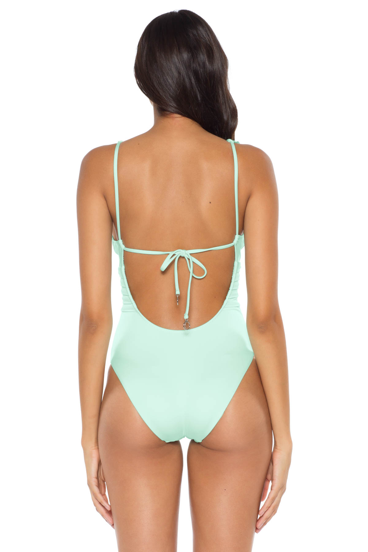 Ruffle Plunge One Piece Swimsuit - Fresh Mint 4