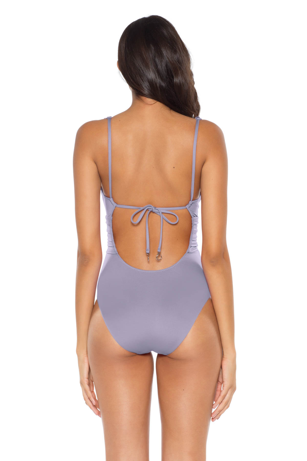 Ruffle Plunge One Piece Swimsuit - Dove 2