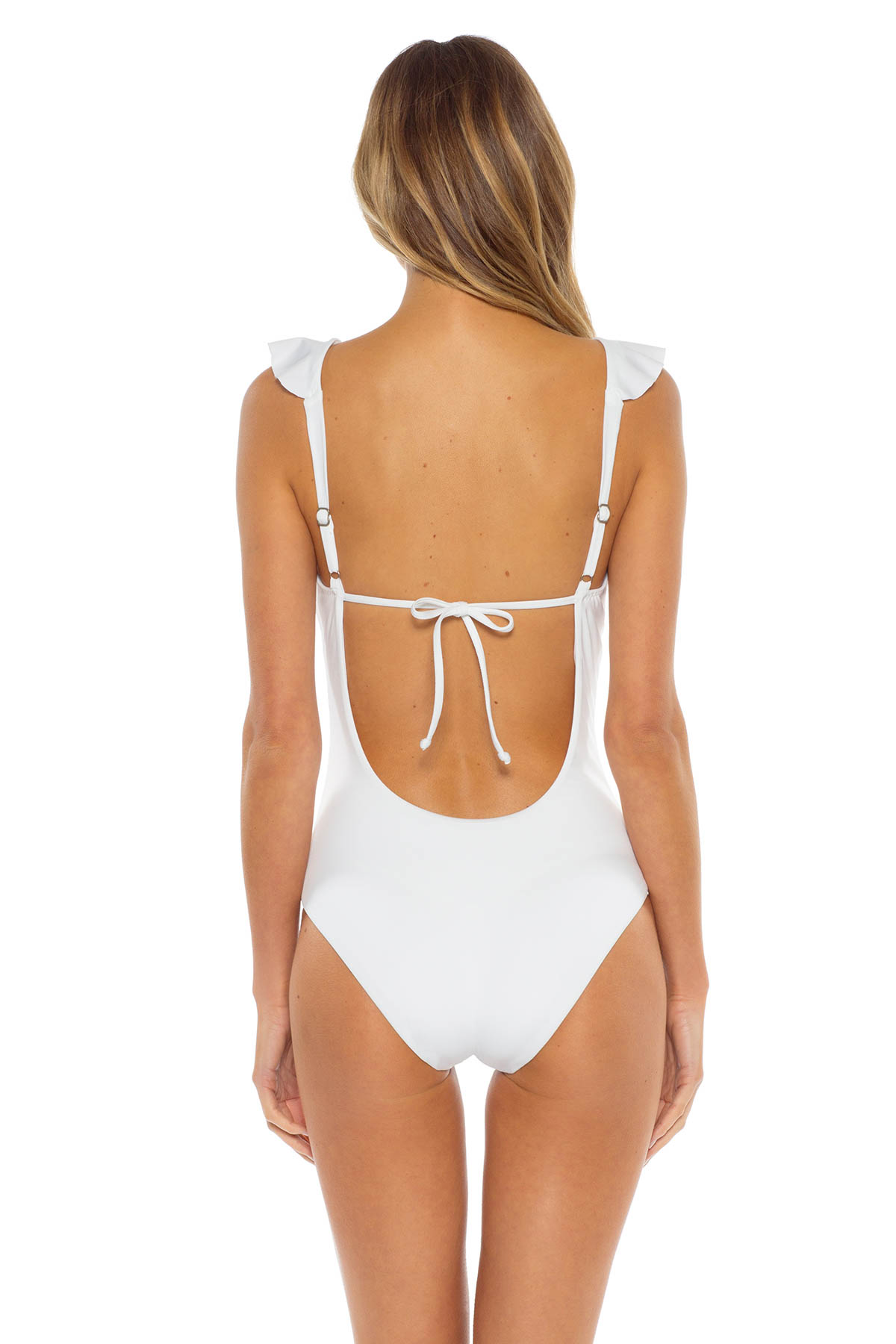 Ruffle Plunge One Piece Swimsuit - White 2