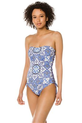 Lace Up Bandeau One Piece Swimsuit