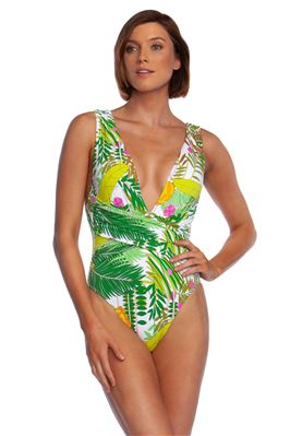 Wrap Front Plunge One Piece Swimsuit