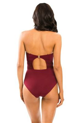 Mesh Panel Bandeau One Piece Swimsuit
