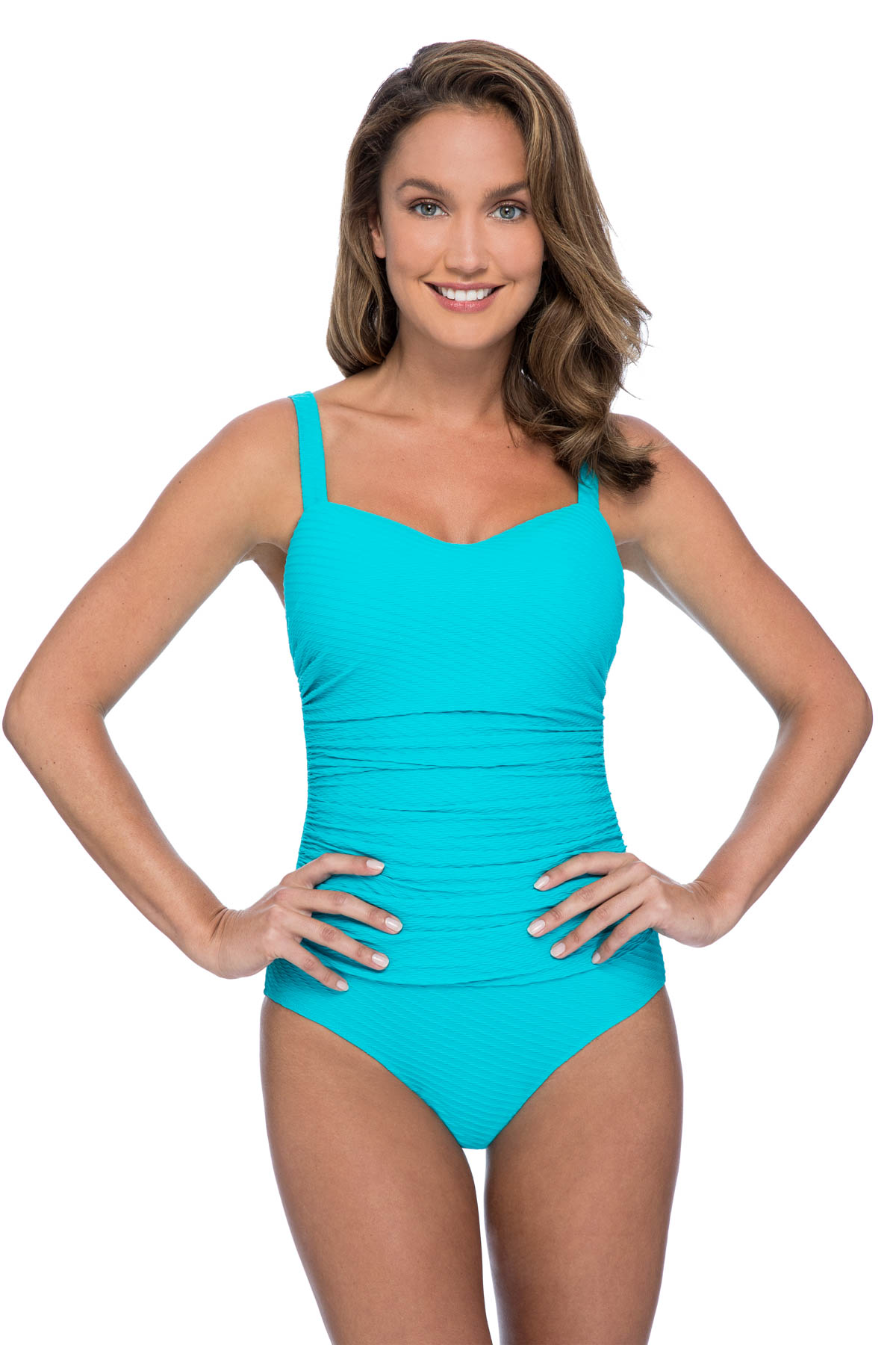 Lingerie Strap One Piece Swimsuit (D Cup) - Turquoise 1