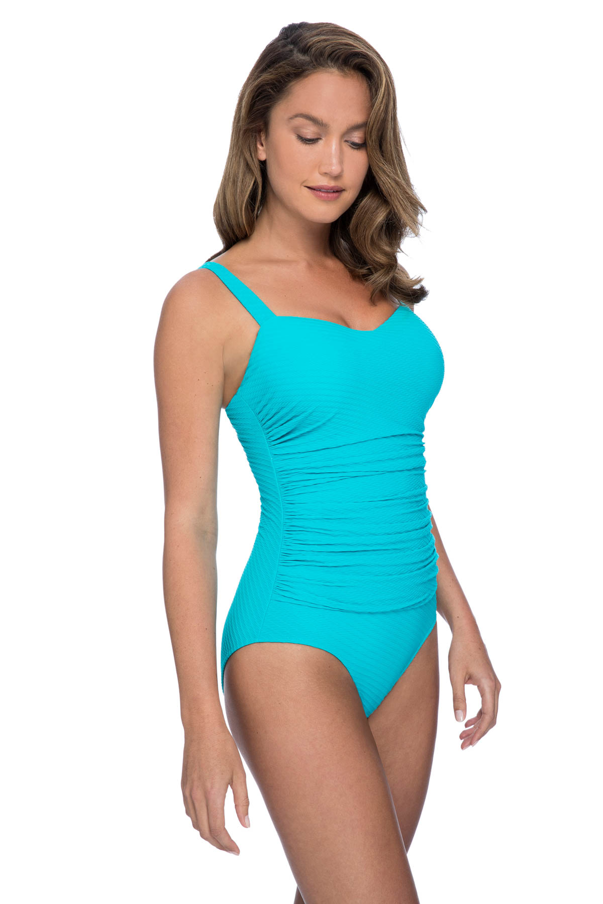 Lingerie Strap One Piece Swimsuit (D Cup) - Turquoise 2