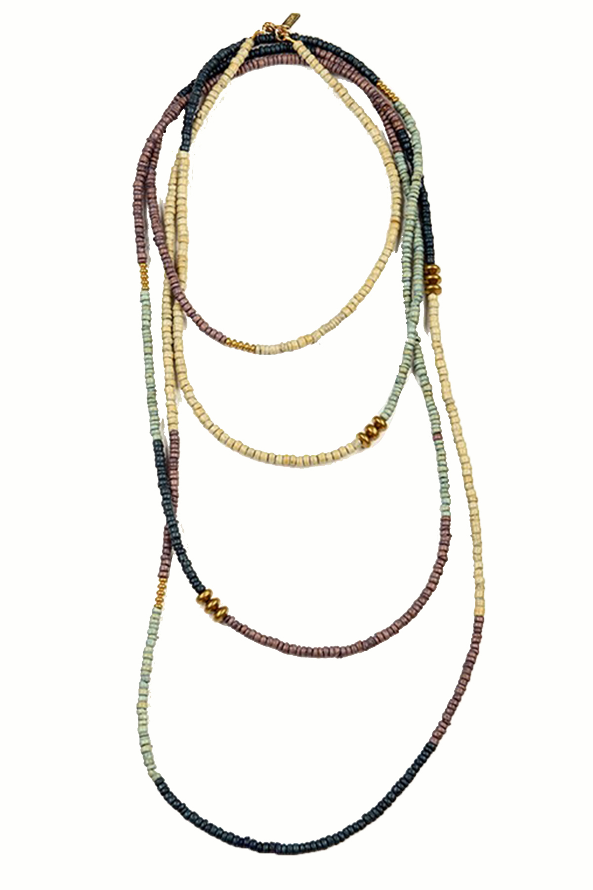 Long Beaded Coconut Shell Necklace - Teal/Sage Purple 1