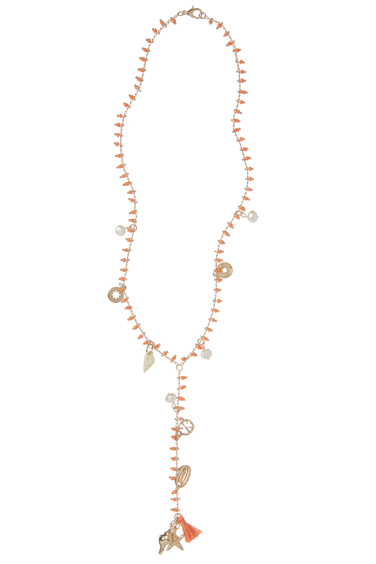 Shell and Tassel Necklace - Coral Gold 2