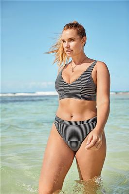 Banded Textured High Waist Bikini Bottom