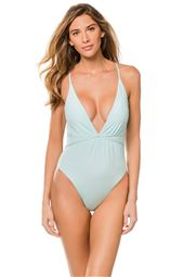 Shirred Plunge One Piece Swimsuit