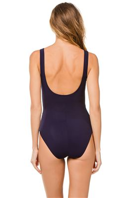 Loop Tie Front Plunge Underwire One Piece Swimsuit