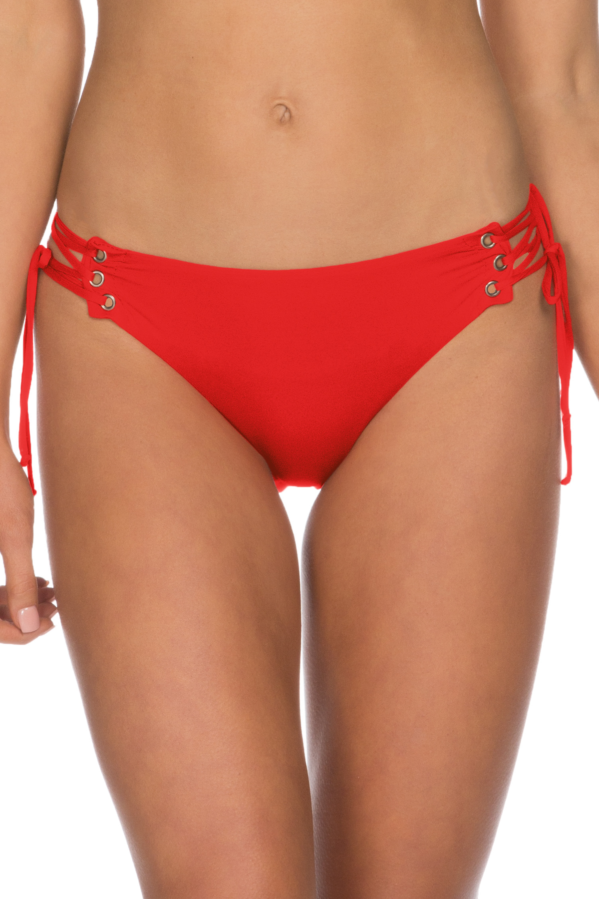 Lace Up Tab Side Hipster Bikini Bottom - Flame 1