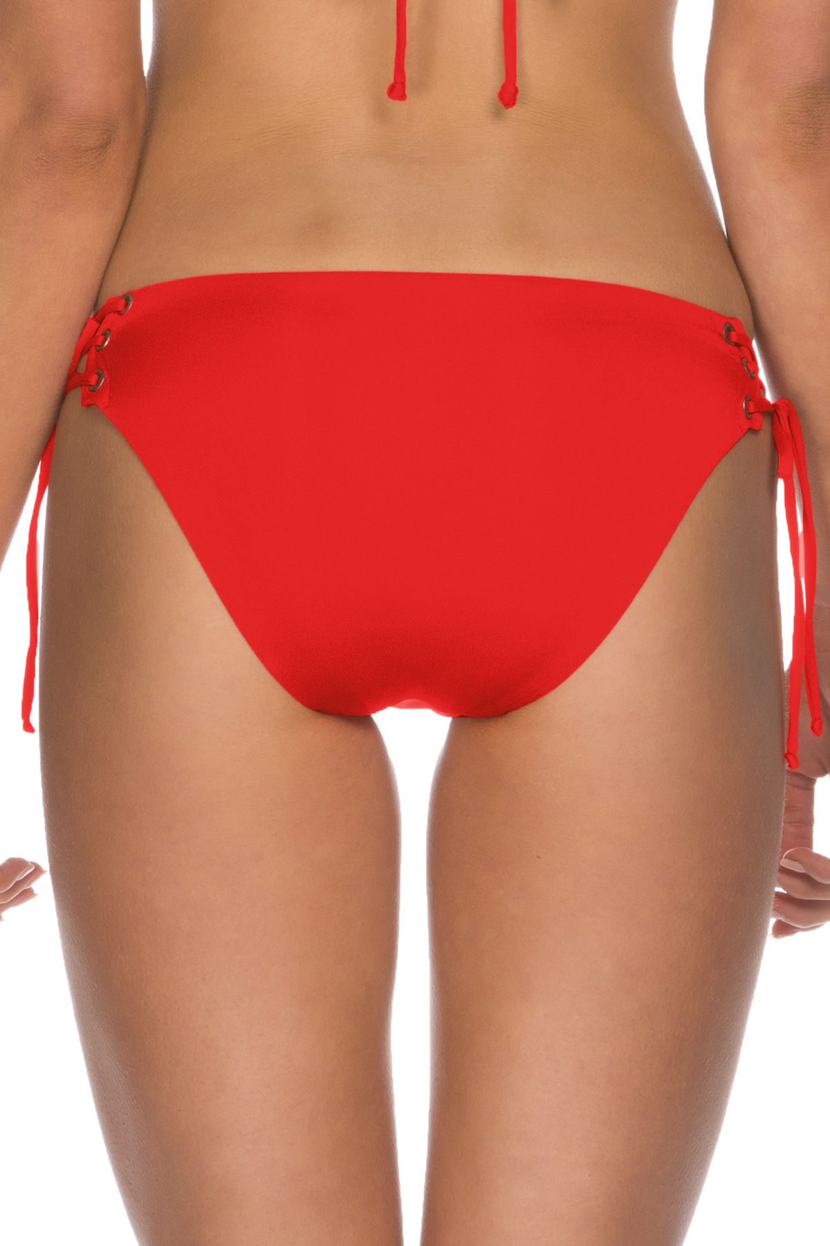 Lace Up Tab Side Hipster Bikini Bottom - Flame 2