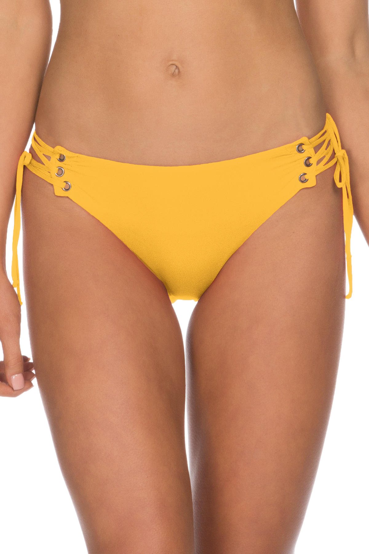 Lace Up Tab Side Hipster Bikini Bottom - Marigold 3