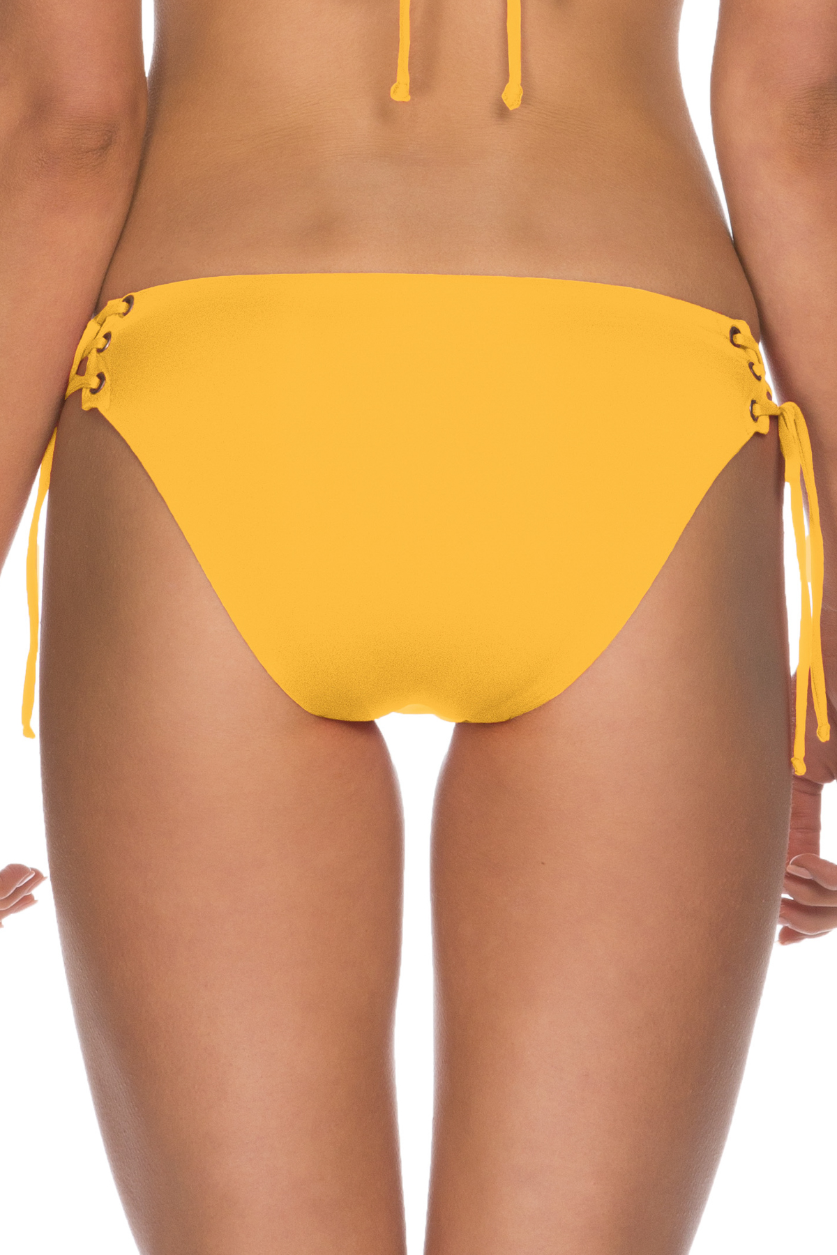 Lace Up Tab Side Hipster Bikini Bottom - Marigold 4