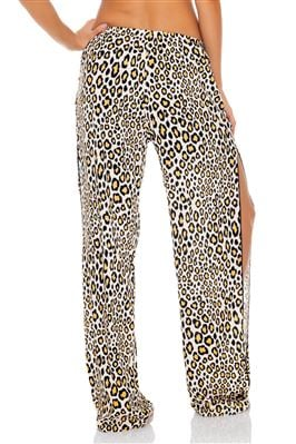 Leopard Side Split Pants