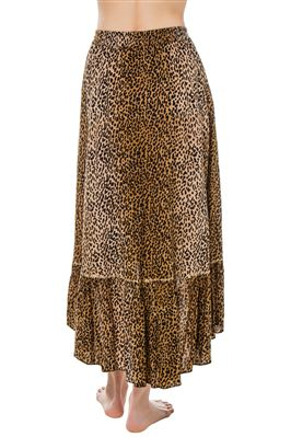 Leopard High Low Ruffle Skirt