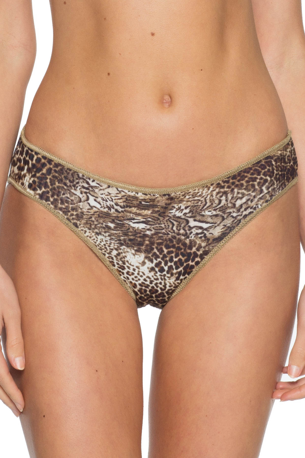 Leopard Ribbed Hipster Bikini Bottom - Multi 1