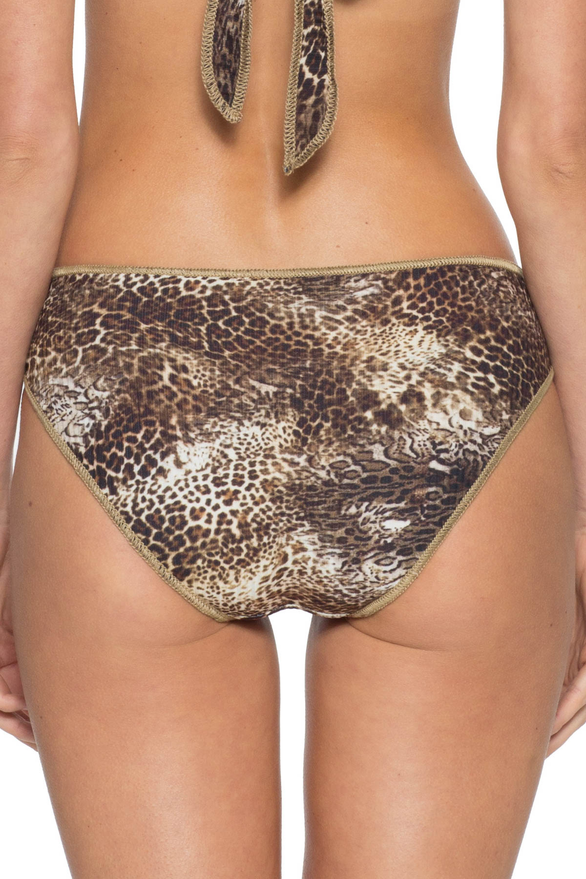Leopard Ribbed Hipster Bikini Bottom - Multi 2