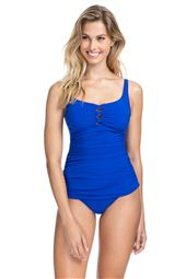 Cutout Over The Shoulder Tankini Top