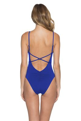 Belted Over The Shoulder One Piece Swimsuit