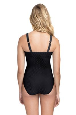 Ribbed Shirred Over The Shoulder One Piece Swimsuit (D Cup)
