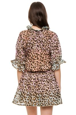 Tie-Dye Leopard Print Blouson Shirt Dress