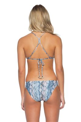 Double Tunnel Snakeskin Sliding Triangle Bikini Top