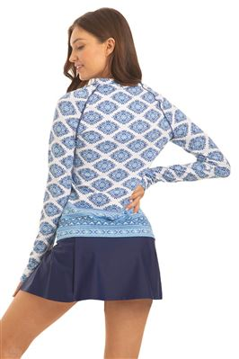 Batik Long Sleeve Zipper Rash Guard