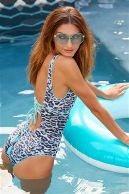 Olivia Square Neck Animal Print One Piece Swimsuit