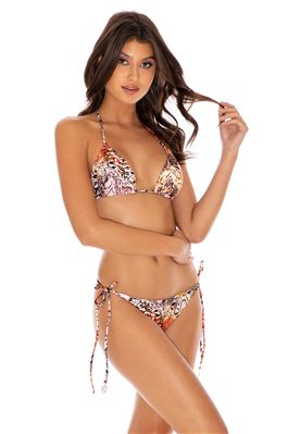 Snake Print Sliding Triangle Bikini Top