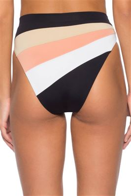 Bondi Color Block Banded High Waist Bikini Bottom