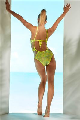 Show & Tell Crochet Plunge One Piece Swimsuit