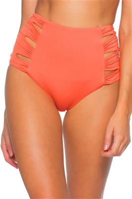 Eclipse Shirred Cutout High Waist Bikini Bottom