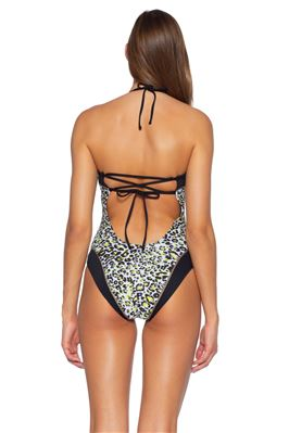 Leopard Print Bandeau One Piece Swimsuit