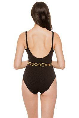 Nina Black Leopard Belted One Piece Swimsuit