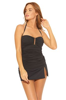 Shirred Molded Underwire Bandeau Tankini Top