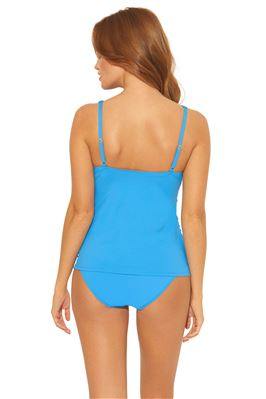 Shirred U-Ring Over The Shoulder Tankini Top