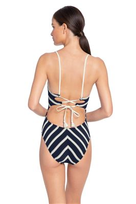 Stripe Over The Shoulder One Piece Swimsuit