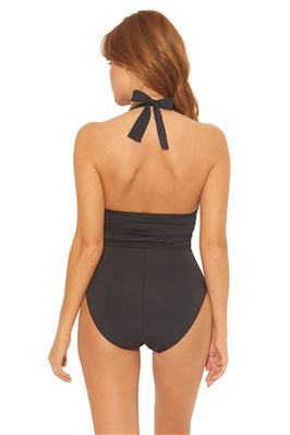 Shirred Plunge Halter One Piece Swimsuit