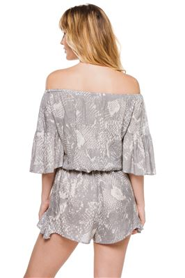 Off Shoulder Snakeskin Print Romper