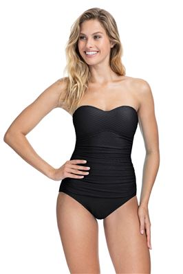 Textured Bandeau One Piece Swimsuit