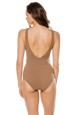 Belted High Neck One Piece Swimsuit