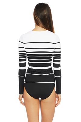 Striped Long Sleeve Rash Guard
