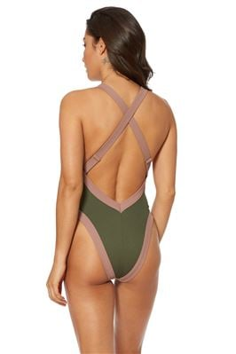 Ribber High Leg X-Back One Piece Swimsuit