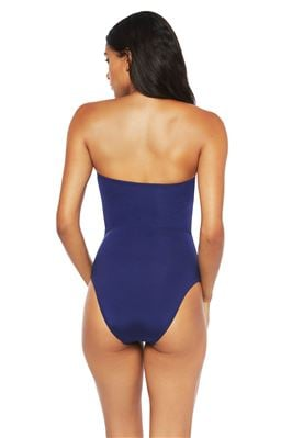 Lace-Up Bandeau One Piece Swimsuit