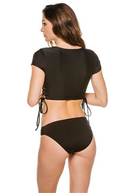 Shona Short Sleeve Lace Up Rash Guard