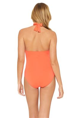 Shirred Cut Out Halter One Piece Swimsuit