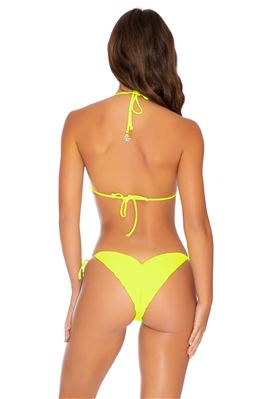 Neon Ribbed Sliding Triangle Bikini Top