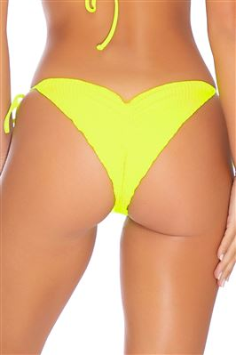 Neon Ribbed Cinched Tie Side Brazilian Bikini Bottom