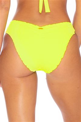 Neon Ribbed Ruched Hipster Bikini Bottom