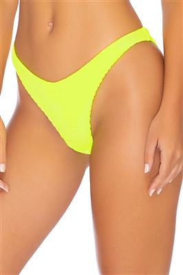 Neon Ribbed High Leg Brazilian Bikini Bottom